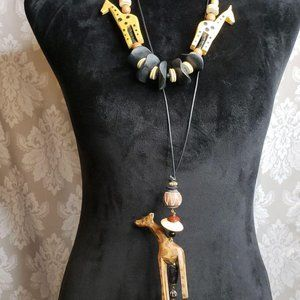 Wood hand carved giraffe animal necklace